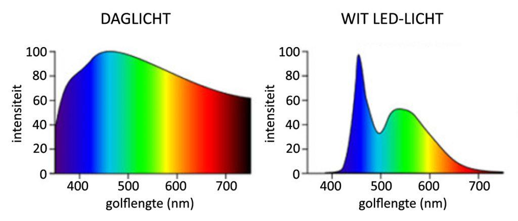 In LED-licht zit relatief veel meer blauw licht dan in natuurlijk licht.